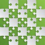 Grey Puzzle Pieces Green - scacchi del giacimento del puzzle Immagine Stock