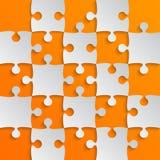 Grey Puzzle Pieces Orange-het Schaak van het Figuurzaaggebied Royalty-vrije Stock Afbeeldingen
