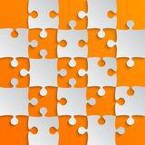 Grey Puzzle Pieces Orange JigSaw Field Chess. Grey Puzzle Pieces in a Orange Yellow Square - JigSaw - Vector Illustration. Vector Background. Field for Chess Royalty Free Stock Images