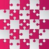 Grey Puzzle Pieces Pink - het Schaak van het Figuurzaaggebied Royalty-vrije Stock Foto's