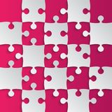 Grey Puzzle Pieces Pink - JigSaw Field Chess. Grey Puzzle Pieces Pink in a Square - JigSaw - Vector Illustration. Vector Background. Field for Chess Royalty Free Stock Photos