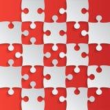 Grey Puzzle Pieces Red - het Schaak van het Figuurzaaggebied Stock Afbeelding