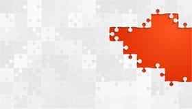Grey Puzzles Pieces bianco - puzzle dell'arancia di vettore Fotografia Stock