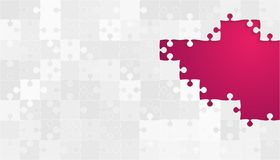 Grey Puzzles Pieces bianco - puzzle rosa di vettore Fotografia Stock Libera da Diritti