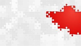 Grey Puzzles Pieces branco - serra de vaivém do vermelho do vetor Ilustração Stock
