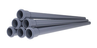 Grey PVC sewer pipes Royalty Free Stock Photography