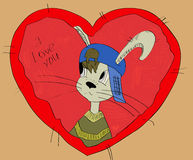 A grey rabit  on the red heart. postcard. Royalty Free Stock Image