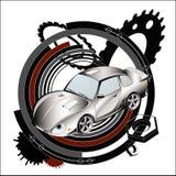 Grey racing car. Background. Stock Photos