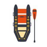 Grey And Red Inflatable Raft met Één vent, een Deel van Boot en de Reeks van Watersporten Eenvoudige Vlakke Vectorillustraties Royalty-vrije Stock Foto's