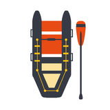 Grey And Red Inflatable Raft With One Peddle, Part Of Boat And Water Sports Series Of Simple Flat Vector Illustrations. River Boating Sportive Equipment Piece Royalty Free Stock Photos