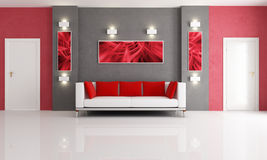 Grey and red living room. Modern couch in a red and gray living room with two door - rendering Stock Photography