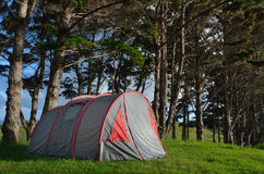 Grey and red tent camping outdoors Royalty Free Stock Photo