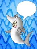 Grey Reef Shark talking. Illustration of Grey Reef Shark on sea blue background Stock Photos