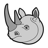 Grey Rhinoceros Head Royaltyfri Foto