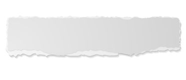 Grey ripped paper edge vector banner. Grey ripped paper edge abstract sticker banner. Vector ragged edge paper design template stock illustration