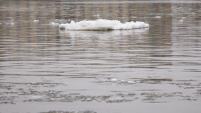 Grey river with a big block of ice. And bits of snow stock footage