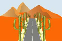 Grey road with green cactuses on the roadside in orange desert, vector Stock Image