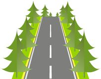 Grey road with green fir on the roadside, vector Stock Images