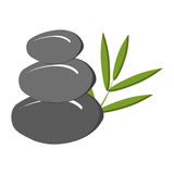 grey rock and green tree leaves, graphic Royalty Free Stock Photo