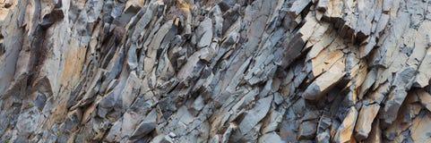 Grey rock mountain panorama background - stone texture Stock Photography