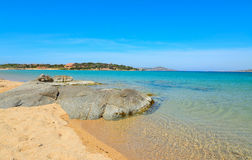 Grey rocks in Porto Pollo beach Royalty Free Stock Photos