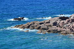 Grey rocks and sea, landscape detail Royalty Free Stock Photo