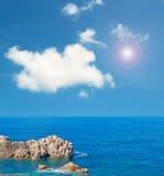 Grey rocks and sun Royalty Free Stock Image