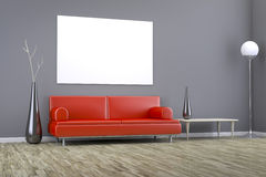 Grey room with a sofa Royalty Free Stock Photos