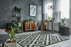 Grey room with window Royalty Free Stock Image