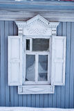 Grey Russian Wooden Window Frame Arkivbild