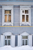 Grey Russian Wooden Window Frames Royaltyfria Bilder