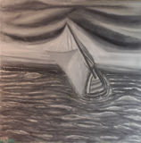 Grey sailing boat in the heavy sea, by Lovro Beranič, 2016, 56x56cm, Oil on canvas, Royalty Free Stock Photography