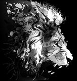Grey scale digital painting of a lions head Stock Photography