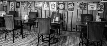 Grey Scale Photo of Restaurant Royalty Free Stock Image