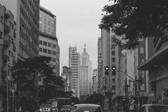 Grey Scale Photography of City Royalty Free Stock Images