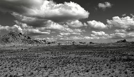 Grey Scale Photography of Open Field and Mountain Royalty Free Stock Photo