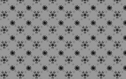 Grey scale snowflakes pattern over light grey background. Snowflakes vector pattern. Geometric abstract seamless pattern of snowflakes and floral structures in stock illustration
