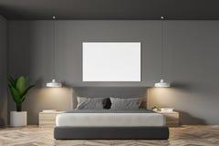 Grey Scandinavian-slaapkamerbinnenland, affiche Vector Illustratie