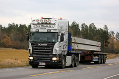 Grey Scania R500 Semi Transports Concrete for Construction Royalty Free Stock Photo