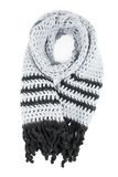 Grey scarf of handwork knitted by a hook on a white background Royalty Free Stock Photography