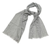 Grey scarf on white background Royalty Free Stock Image