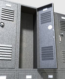 Grey School Lockers Perspective Stock Images