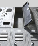 Grey School Lockers Perspective. A perspective view of a stack of grey metal school lockers with combination locks and one with an open door on an isolated royalty free stock images