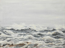 Grey sea waves, oil painting. Oil painting illustrating agitated sea waves on a cloudy day Stock Images