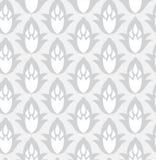 Grey seamless geometric pattern. With decorative flowers Royalty Free Stock Photos