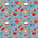 Grey seamless pattern cartoon kitchen ware Royalty Free Stock Photography