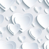 Grey seamless pattern with 3d hearts for Day Valentine Stock Photo