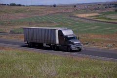 Grey Semi-Truck/remolque blanco imagenes de archivo
