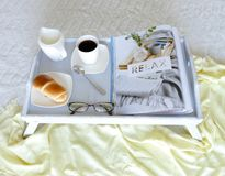 Grey Serving bed Tray - shabby chic Royalty Free Stock Photo