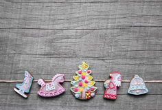 Free Grey Shabby Chic Wooden Christmas Background Decorated With Ging Royalty Free Stock Image - 42740176